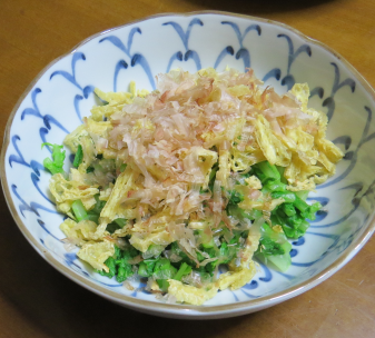 ダイコン葉と油揚げミックス料理