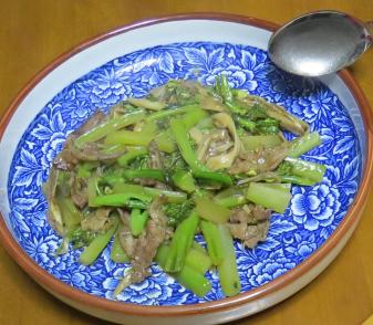 カイランと牛肉の炒め