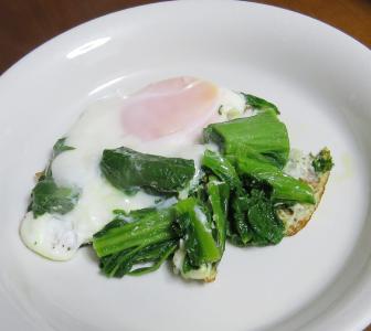 カツオ菜入り卵とじ