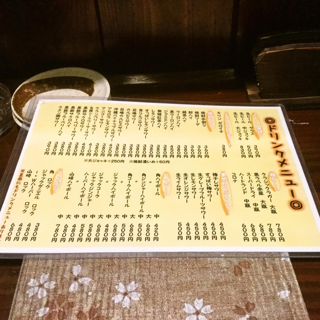 藩次郎(メニュー)