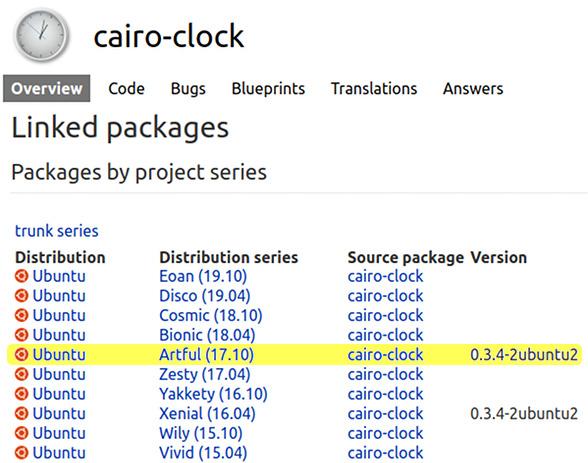 Cairo Clock Ubuntu 18.04 パッケージ