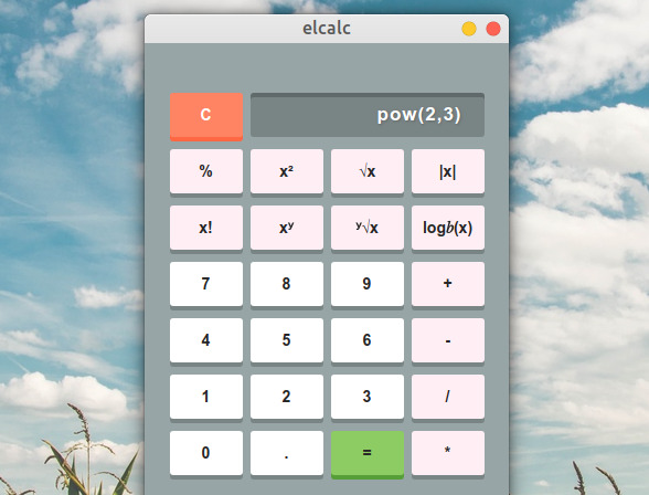 elcalc Ubuntu 電卓 関数機能