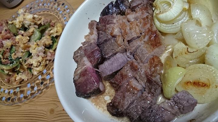 ゴーヤーチャンプルーと熟成肉ステーキ