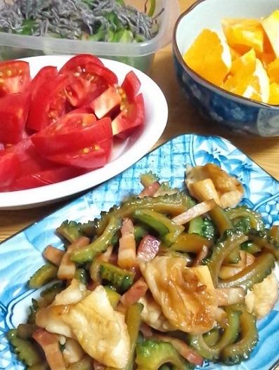 ヤタラ漬け、トマト、ネーブルオレンジ、安平麩とゴーヤーとベーコンのイリチー