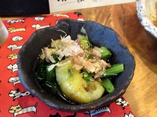 焼き茄子と小松菜のおひたし