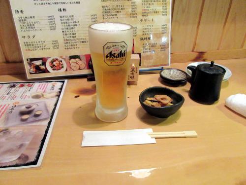 生ビールとお通し