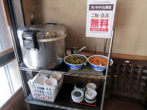 無料サービスのご飯、高菜