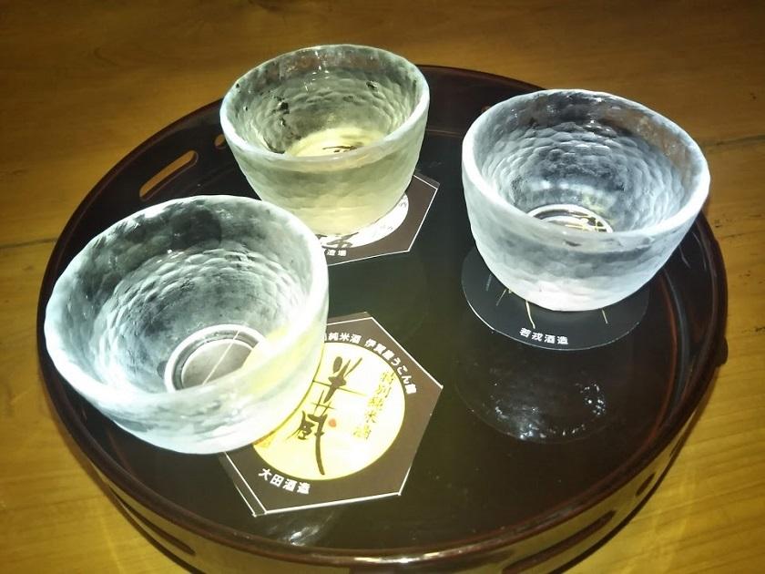 夕食 地酒3種
