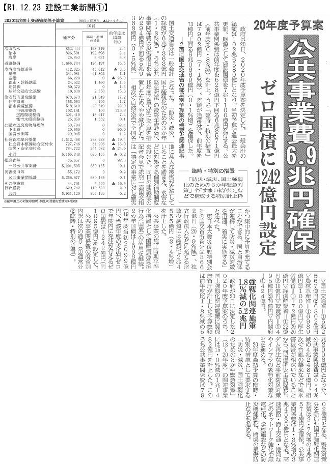 20191223 20年度予算案・国土交通省:建設工業新聞①