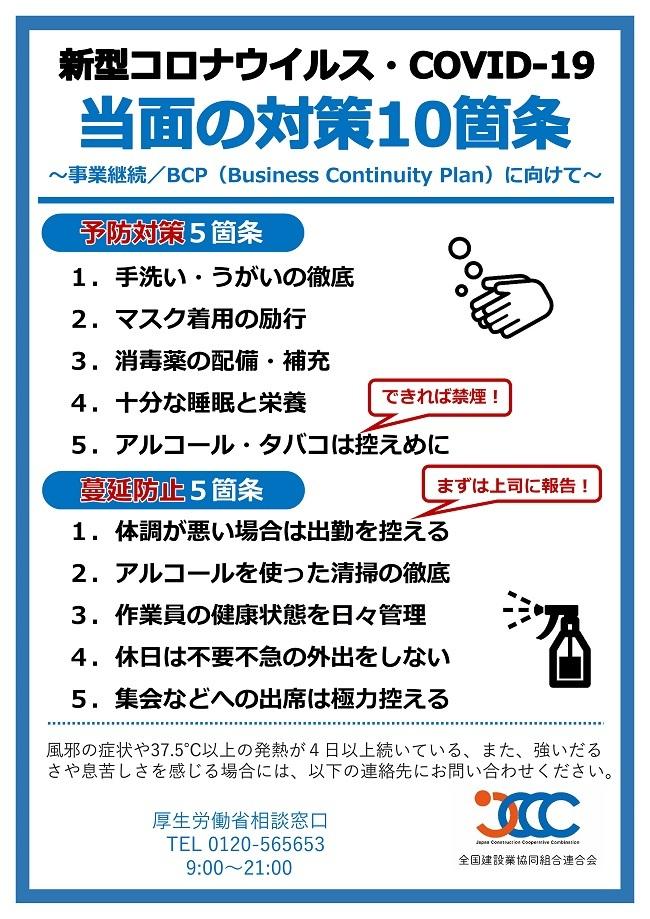 新型コロナウイルス当面の対策10箇条